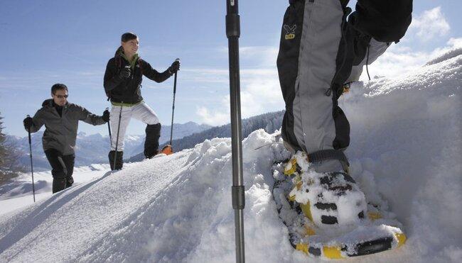 Winterliche Schneeschuhwanderungen über die Almen im Bregenzerwald