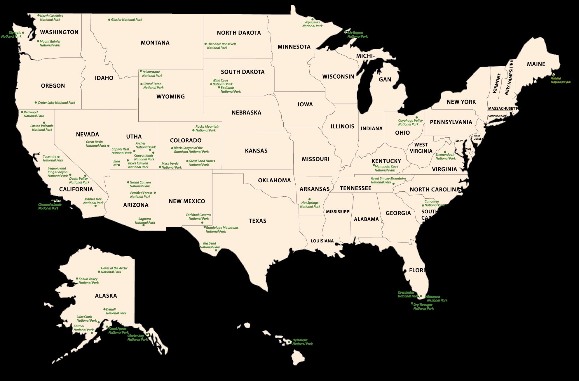 Übersicht der Nationalparks in den USA auf einer Landkarte