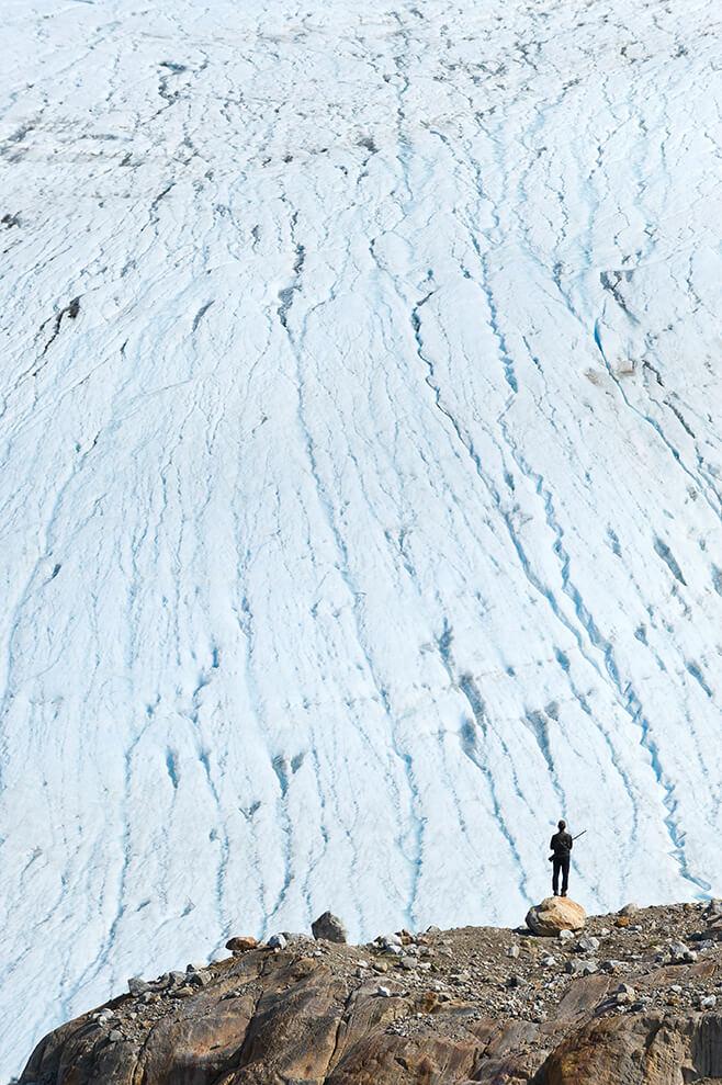 Wandern an dern Gletschern Ostgrönlands