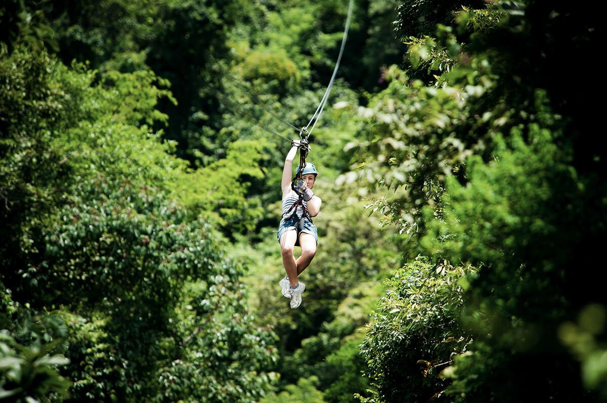 Adrenalin pur: Canopy Tour in luftigen Höhen.
