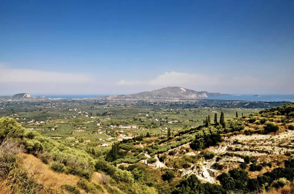 Blick auf das Land und die Küste von Zakynthos