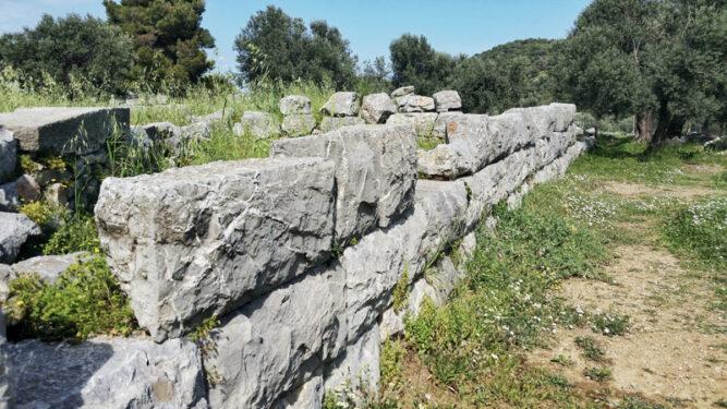 eine dicke Steinmauer in einer Wiese