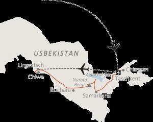 Reiseverlauf während der geführten Wanderreise - Taschkent/Samarkand/Buchara/Chiwa