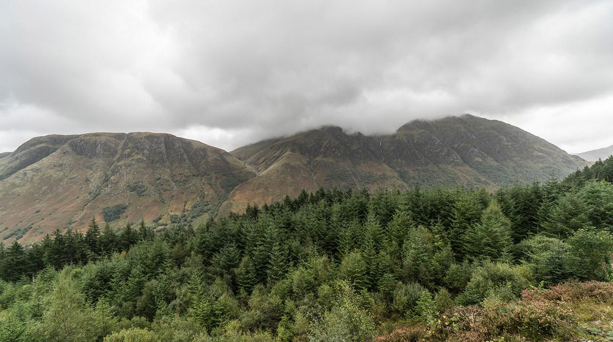 Ben Nevis - Schottlands höchster Berg - vom Nebel eingehüllt