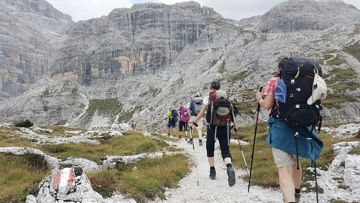 Wanderer in Dolomiten