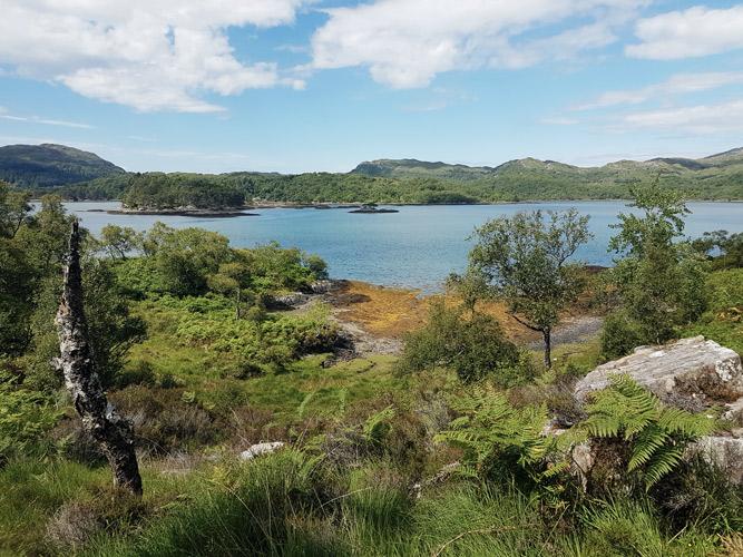 Auf dem Weg zum Castle Tioram wandern wir entlang des Lochs Moidart