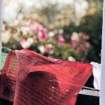 Rotes Tuch einer tibetischen Flagge