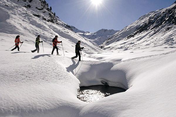 Vier Schneeschuhwanderer hintereinander über Schneelandschaft und Gewässer