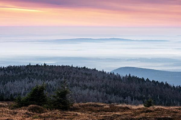 Blick vom Brocken über Harz Gebirge, Deutschland