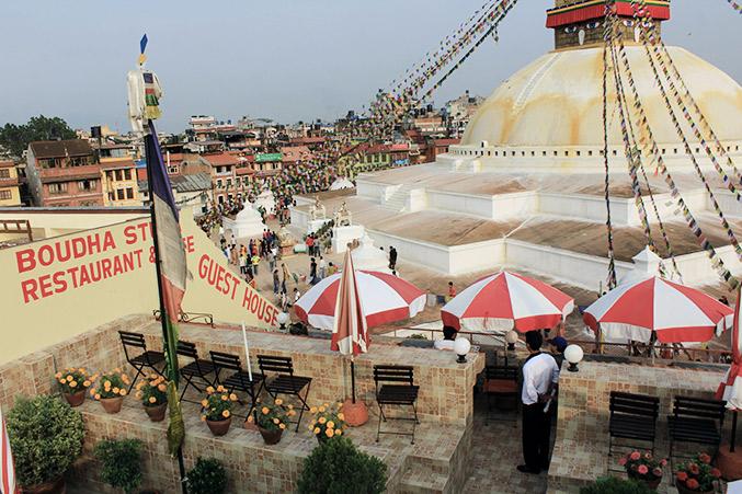 Blick auf Boudha Stupa