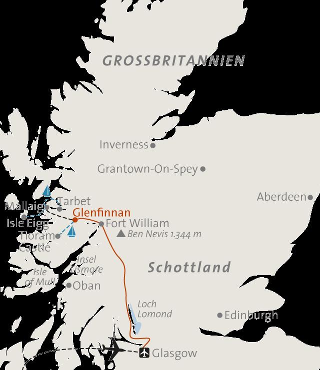 Reiseroute - Schottland komfortabel erleben