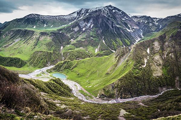 Kasbek im Großen Kaukasus, Georgien
