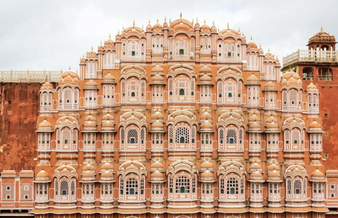 Der Palast Hawa Mahal, Palast der Winde. Jaipur, Rajasthan, Indien