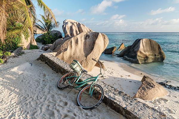 Fahrrad auf La Digue, Seychellen