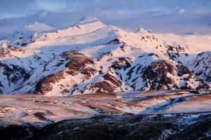 Eyjafjallajökull mit Schnee bedeckt, Island.