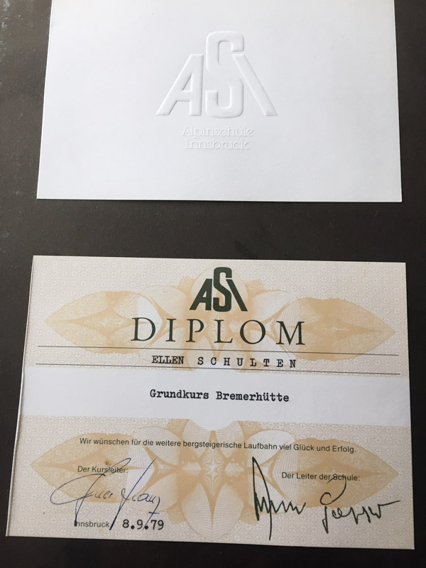 Diplom für Grundkurs Bergsteigen