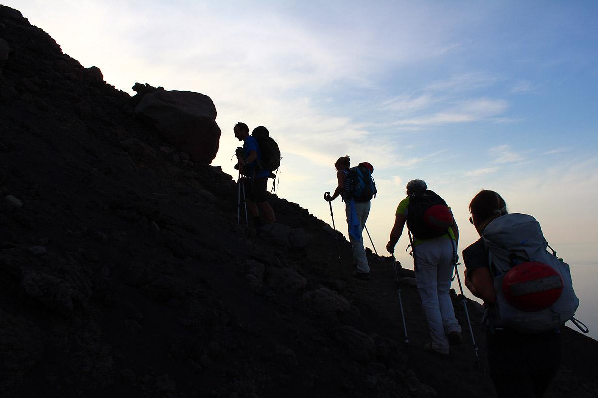 Auf dem Weg zum Gipfel des Stromboli