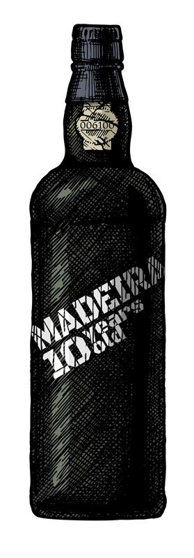 """schwarze Weinflasche mit weißer Aufschrift """"Madeira - 10 years old"""""""