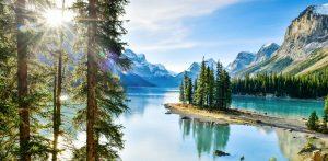 Maligne Lake, Bäume und Berge im Hintergrund, Jasper Nationalpark, Kanada