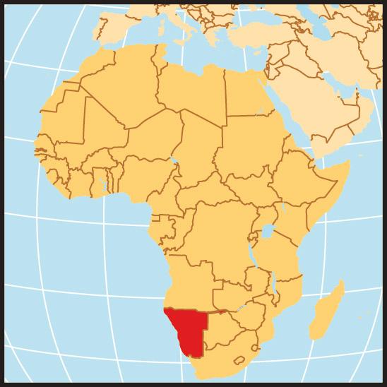 Eine Landkarte von Afrika mit dem rot markierten Land Namibia
