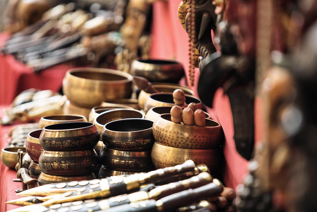 Klangschalen Markt in Nepal