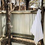 Dusche mit Wellblech, Kruger Bush Camp