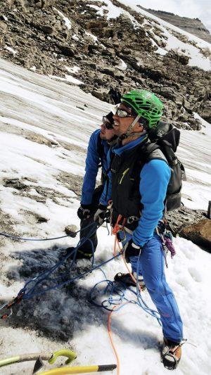 Bergführer sichert, Hohe Tauern