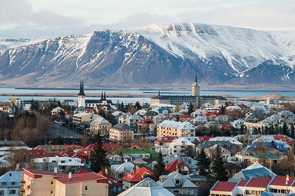 Blick auf Islands Hauptstadt Reykjavik