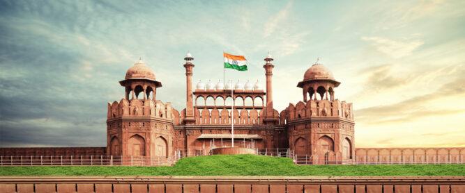 Das berühmte Rote Fort in Delhi, Indien