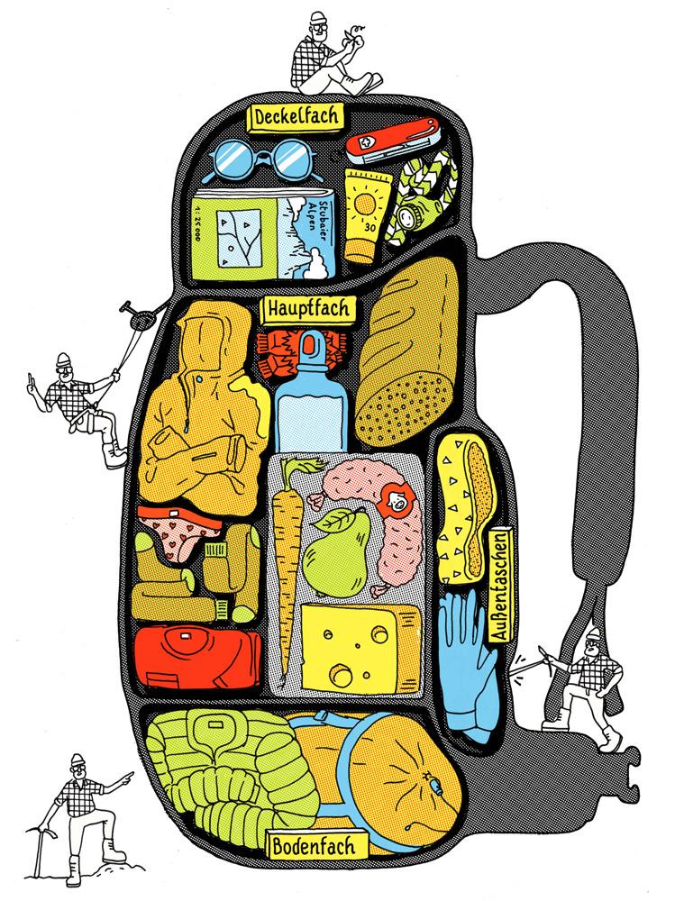 Illustration Rucksack und seine Fächer