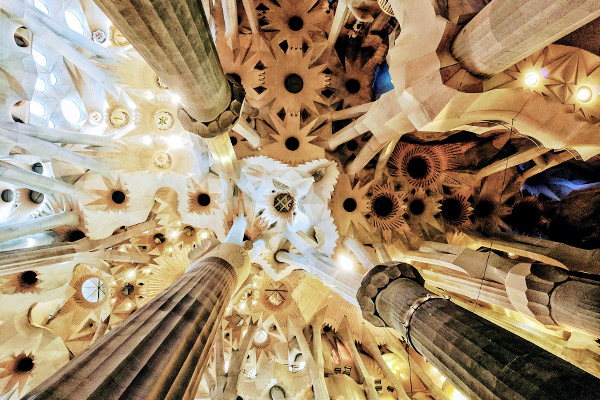 Decke der Sagrada Familia, Barcelona Spanien