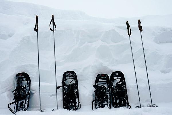 Schneeschuhe und Stoecke