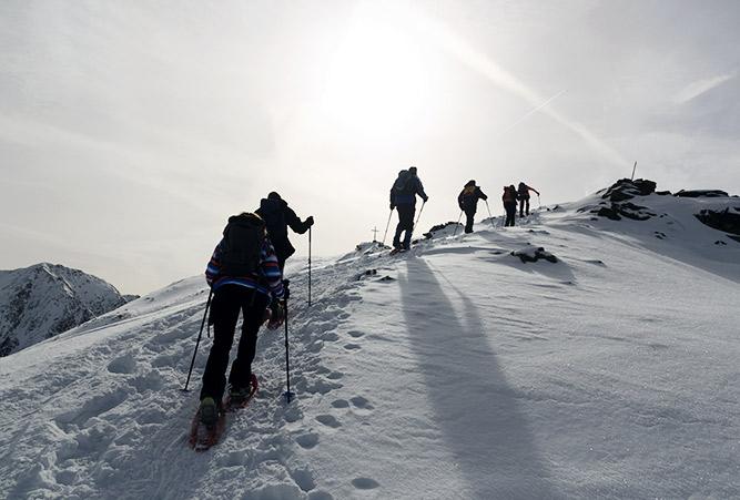 Gruppe Schneeschuhwanderer besteigt verschneiten Gipfel
