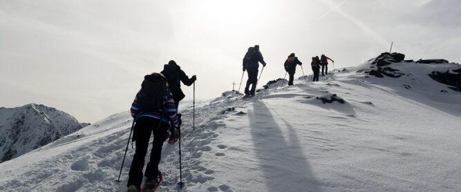 Schneeschuhwanderung geführt auf Gipfel