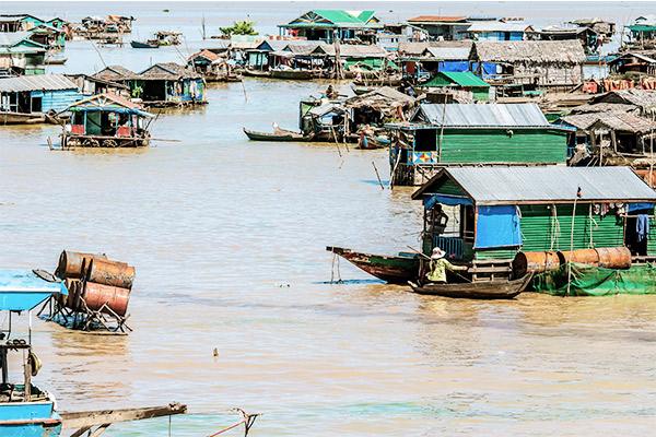 Schwimmende Dörfer am Tonle Sap See, Kambodscha
