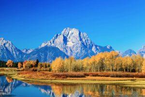 Blick auf See, Wald und Grand Teton. © Shutterstock