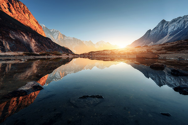 Sonnenuntergang Berg, Himalaya