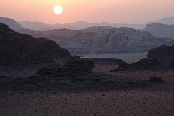 Sonnenuntergang Wadi Rum, Jordanien