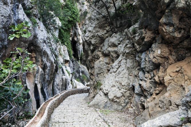 Gepflasterter Weg an einer schroffen Felswand, wenige Pflanzen