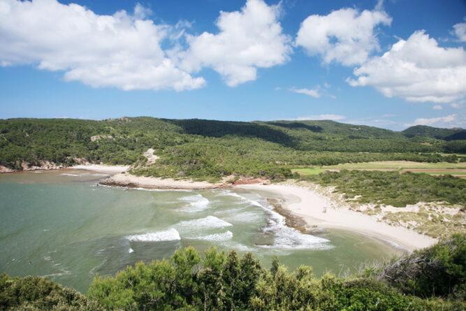 Wellen die an eine Bucht mit hellem Sandstrand kommen. Umgebung Bäume. Blauer Himmel und Wolken