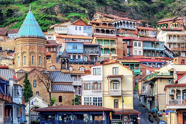 Bunte Häuser in Tiflis, Georgien