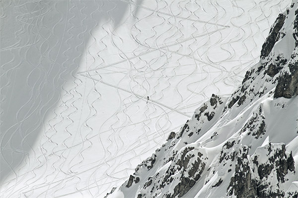 Tourenspuren im Schnee, Axamer Lizum