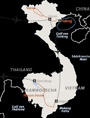 Rundreise Karte Vietnam Kambodscha
