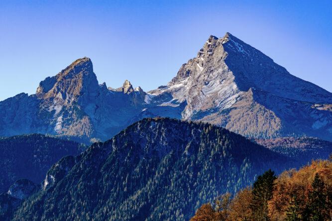 Der spitze Gipfel des Watzmanns im Nationalpark Berchtesgaden, Deutschland