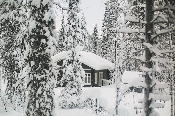 Huette im Winterwald, Norwegen
